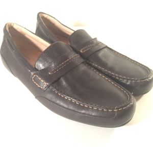 Sperry brown leather driving slip on loafers